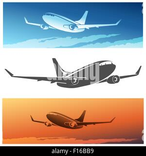 Flying Airplane set. Isolated silhouette and airplanes against morning or sunset sky. - Stock Photo