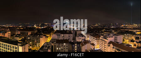LYON, FRANCE - DECEMBER 6, 2014: panoramic night view of downtown in Lyon, France. Lyon is the capital of the Rhone - Stock Photo