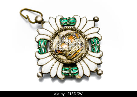 Antique medal isolated on white - Stock Photo