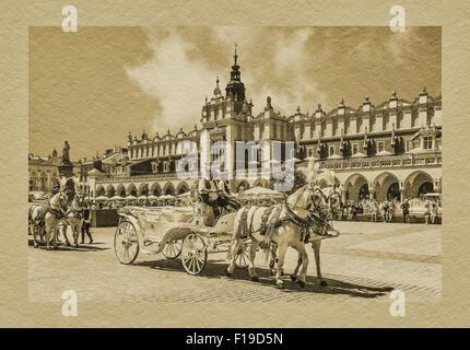 Horse-drawn carriages await tourists on the Krakow Main Market Square, Lesser Poland, Poland, Europe - Stock Photo