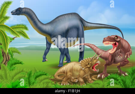 A tyrannosaurus Rex or T Rex and triceratops dinosaur in combat with a Diplodocus in the background dinosaur scene - Stock Photo