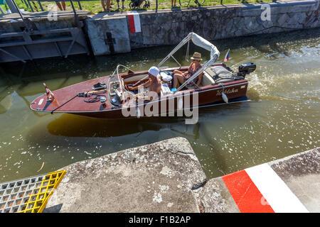 Passage through the ship lock chamber. Bata Canal, port Straznice Petrov, South Moravia, Czech Republic, Europe, - Stock Photo