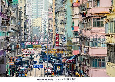 Elevated view down Shek Kip Mei Street, Shek Kip Mei, Kowloon, Hong Kong, China - Stock Photo