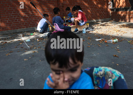 Berlin, Germany. 1st Sep, 2015. Children play at the reception center for refugees and asylum-seekers in Berlin, - Stock Photo
