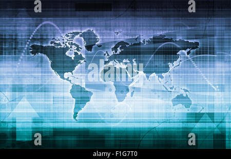 Global Technology Solutions on the Internet Concept Art - Stock Photo