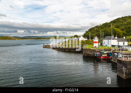 Loch Crinan with the Crinan canal beside it - Stock Photo