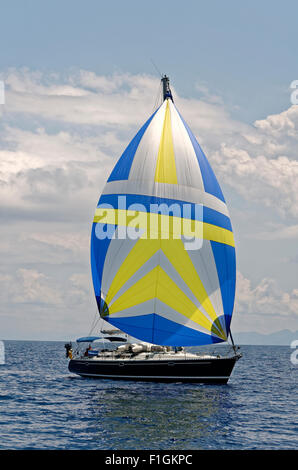 Beneteau Sailing Cruiser with Gennaker foresail - Stock Photo