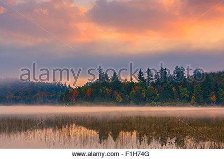 Connery Pond in Adirondacks State Park, close to Lake Placid in the northern part of New York State, USA - Stock Photo