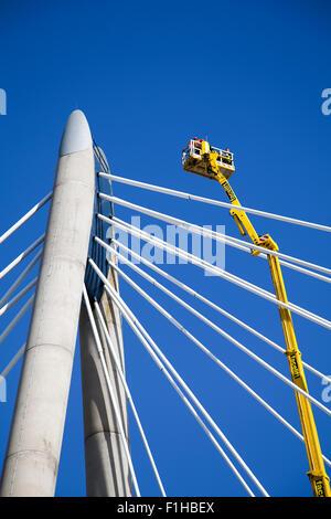 Southport, Merseyside, UK. 2nd September,  2015. UK Weather:  Marine Way Bridge Repairs.  The Marine Way Bridge - Stock Photo