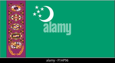 Fahne: Turkmenistan/ flag: Turkmenistan. - Stock Photo