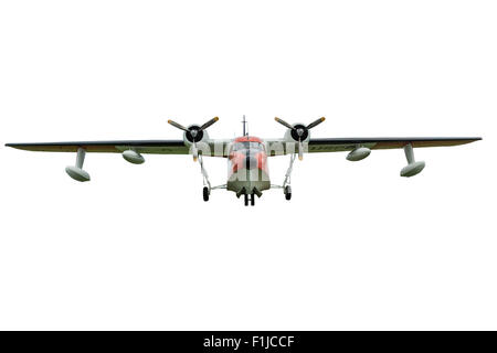 A HU-16 Albatross twin radial engine amphibious flying boat on a white background. - Stock Photo