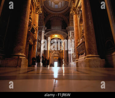 Interior St. Peter's Basilica Vatican City, Rome, Italy - Stock Photo