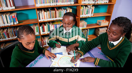 Three girls working together at a desk, Meyerton Primary School, Meyerton, Gauteng - Stock Photo