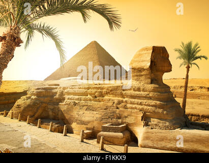Palms near sphinx and pyramid in egyptian desert - Stock Photo