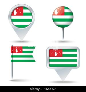 Map pins with flag of Abkhazia - vector illustration - Stock Photo