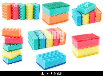 Set of colored sponges for dishwashing isolated on white background. Kitchen bast. - Stock Photo