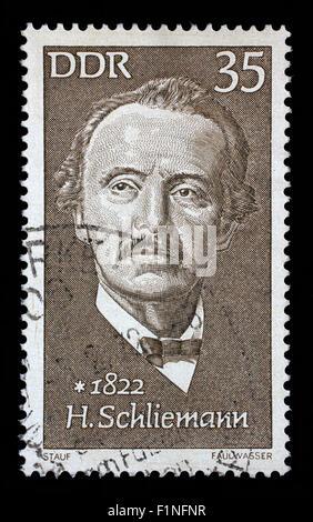 Stamp printed in GDR shows Heinrich Schliemann (1822-1890), archaeologist, circa 1972 - Stock Photo