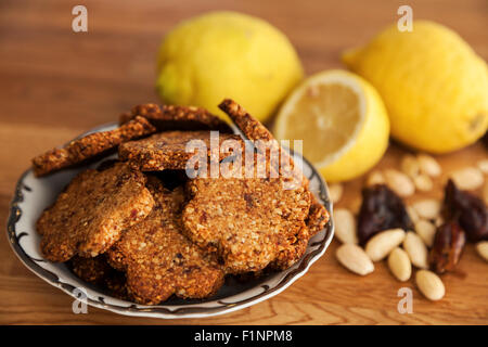 Gluten free ginger cookies with almonds, dates and cardamom - Stock Photo