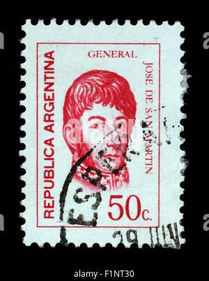 Stamp printed in the Argentina shows Jose de San Martin, General, circa 1973 - Stock Photo