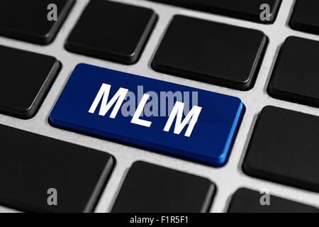 MLM or Multi Level Marketing blue button on keyboard, business concept - Stock Photo