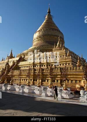 The Shwe Zigon, a Buddhist temple, Nyaung-U, near Bagan (Pagan), Myanmar (Burma), Asia - Stock Photo