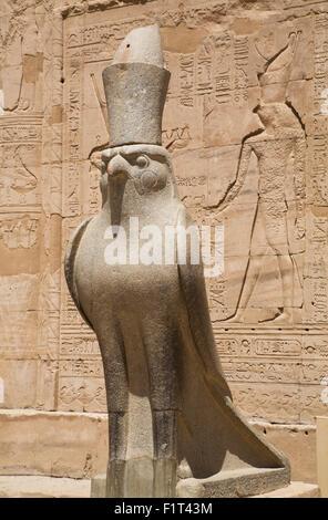 Granite falcons, Pylon, Temple of Horus, Edfu, Egypt, North Africa, Africa - Stock Photo