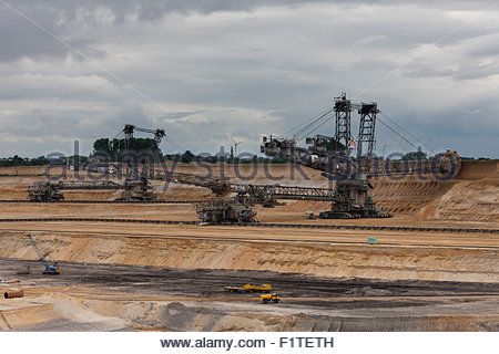 brown coal surface mine, Garzweiler, Germany - Stock Photo