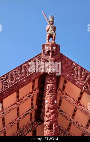 Maori house in Rotorua, North Island, New Zealand - Stock Photo