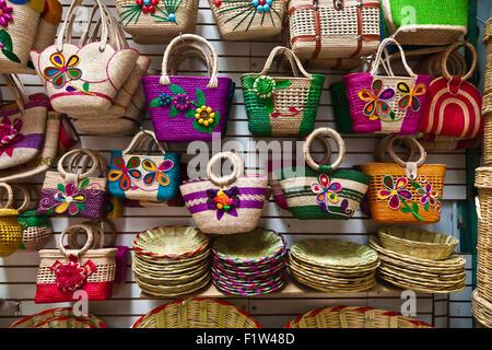 WOVEN BAGS and handicrafts for sale in the massive MERCADO DE ABASTOS - OAXACA, MEXICO - Stock Photo
