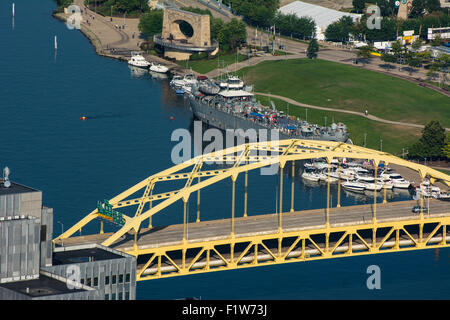 An aerial view of the Fort Duquesne bridge, crossing the Allegheny River, and the North Shore of Pittsburgh, Pennsylvania. - Stock Photo