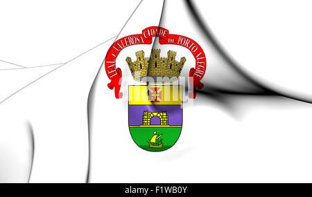 3D Flag of the Porto Alegre Ñity, Brazil. Close Up. - Stock Photo