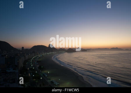 Aerial view of famous Copacabana Beach in Rio de Janeiro, Brazil - Stock Photo