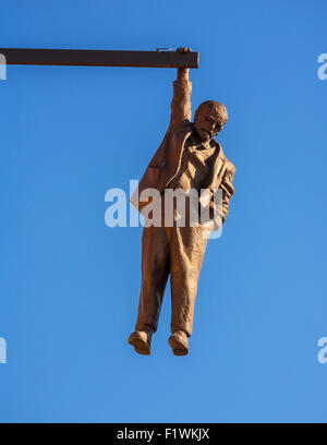 David Cerny's Man Hanging Out  sculpture depicting Sigmund Freud suspended by one hand , Husova street, Old Town, - Stock Photo