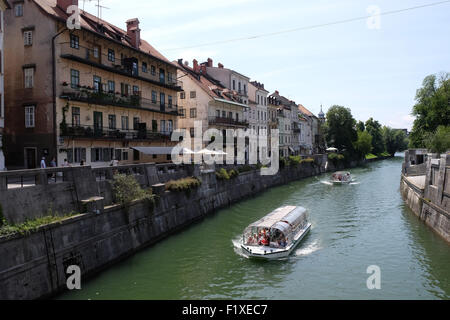 City center, view on the river. Ljubljana is the business and cultural center of the country, Ljubljana, Slovenia - Stock Photo