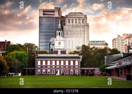 United States, Pennsylvania, Philadelphia, Old City, Independence Hall - Stock Photo