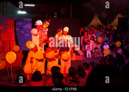 Puppetry show entitled 'SirdusKarkus' by Papermoon Puppet Theater. - Stock Photo