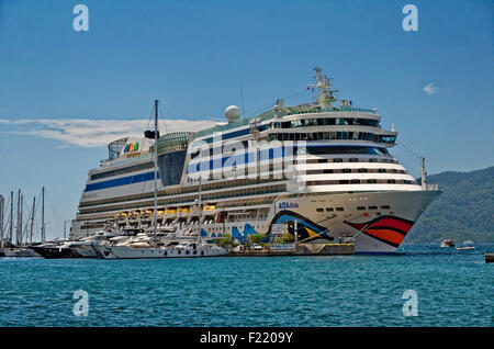 Cruise ship AIDA Diva on quay at the Cruise port of Marmaris, Turkey. - Stock Photo