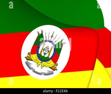 3D Flag of Rio Grande do Sul, Brazil. 3D Illustration. - Stock Photo