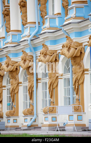 Detail of Catherine Palace, located in Tsarskoye Selo (Pushkin),Saint Petersburg, Russia - Stock Photo