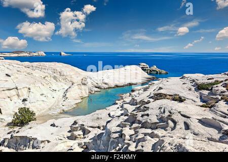 The famous Sarakiniko in Milos, Greece - Stock Photo