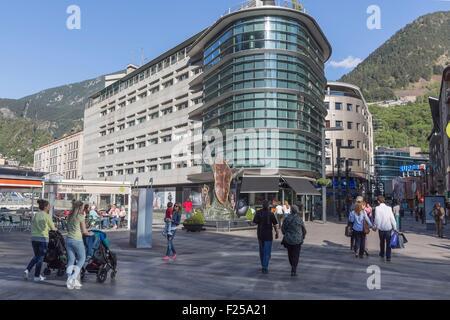 Andorra, Andorra La Vella, capital city of Andorra state, Escaldes Engordany, shopping street , La noblesse du temps - Stock Photo