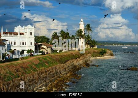 Sri Lanka, Southern Province, Galle Fort, listed as World heritage by UNESCO, the Meera mosque and the lighthouse - Stock Photo