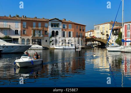 France, Var, Gulf of St Tropez, the Port Grimaud seaside town - Stock Photo