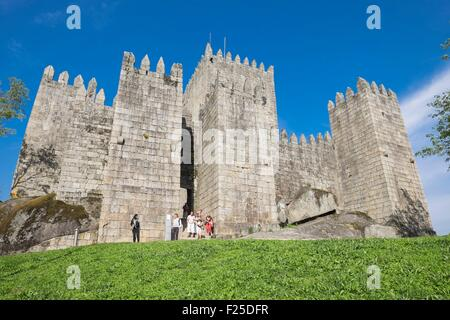 Portugal, North region, Guimaraes, historical center listed as World Heritage by UNESCO, the medieval castle - Stock Photo