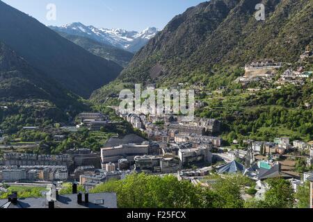 Andorra, Andorra La Vella, capital city of Andorra state, Escaldes Engordany - Stock Photo