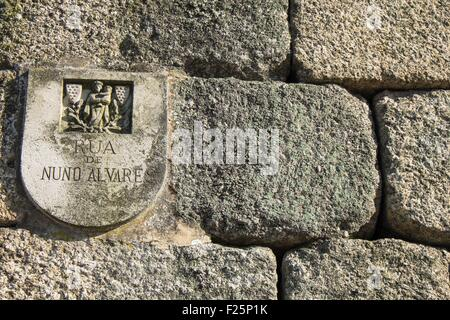 Portugal, North region, Guimaraes, historical center listed as World Heritage by UNESCO, street name sign - Stock Photo