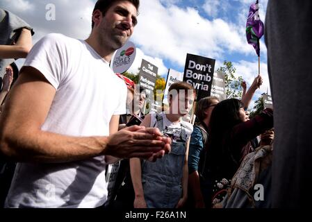 Hyde Park, London, UK, 12th September, 2015. Supporters of Jeremy Corbyn celebrate his victory in the Labour leadership - Stock Photo
