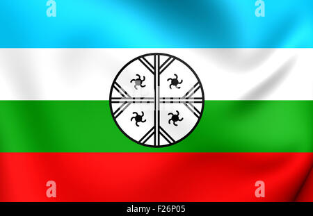 Mapuche Flag of Huenteche Territory. Close Up. - Stock Photo