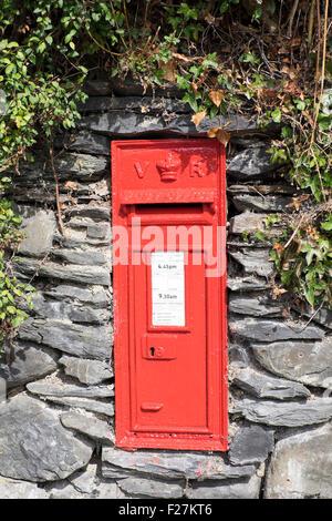 Vintage Post Box - Wales Uk - Stock Photo