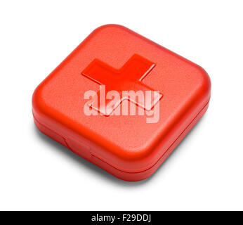 Red Square First Aid Kit Isolated on White Background. - Stock Photo